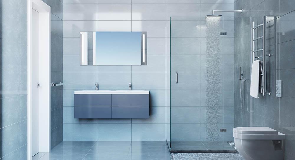 Una ducha de hidromasaje para un spa en un cuarto de baño ...